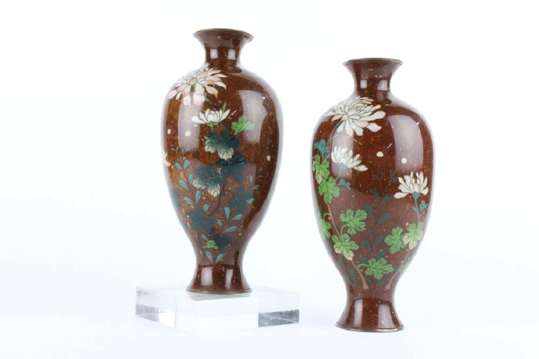 Pair Japanese Cloisonne Enamel Presentation Vases