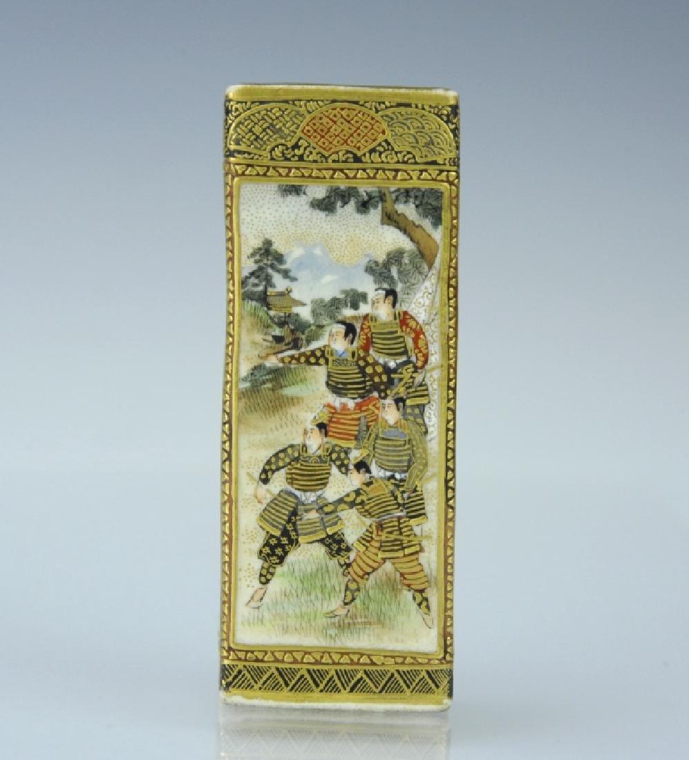 Fine Japanese Satsuma Pottery Samurai Vase
