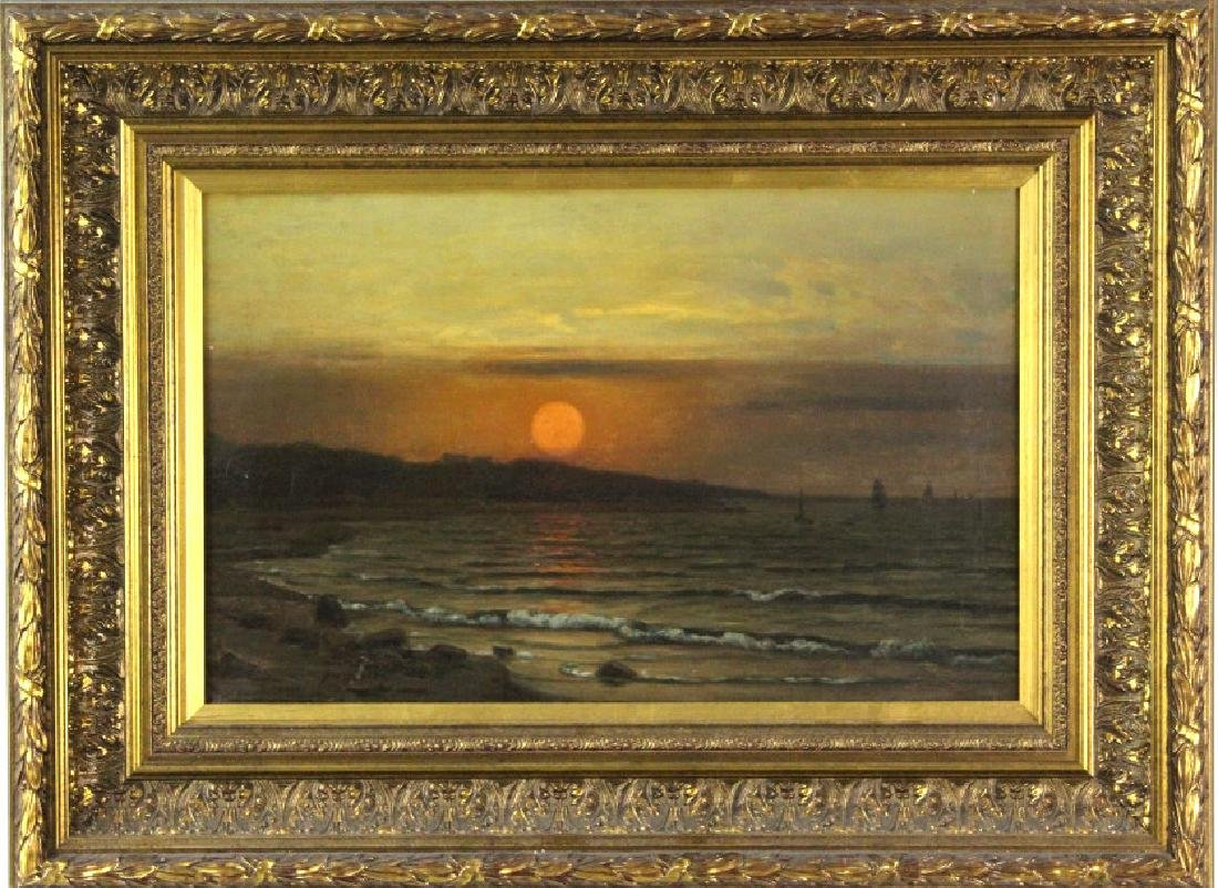 Signed J H Muller Oil On Canvas Seascape Painting
