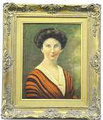 Signed Oil On Canvas Portrait Painting of A Woman