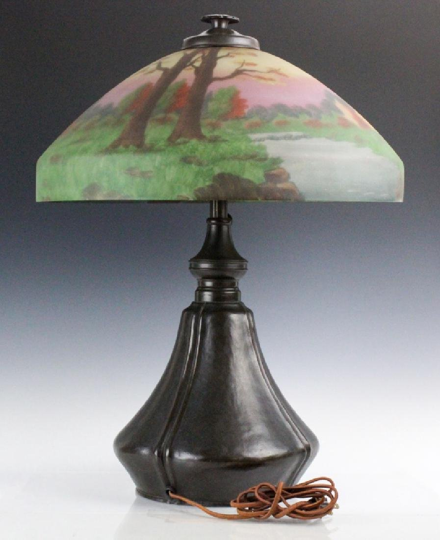 Signed Bradley & Hubbard Reverse Painted Lamp - 10