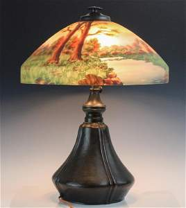Signed Bradley & Hubbard Reverse Painted Lamp