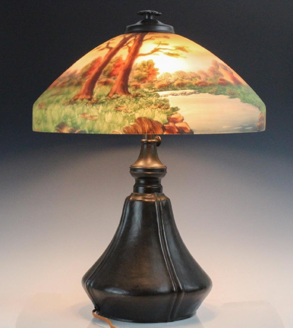 Signed Bradley & Hubbard Reverse Painted Lamp