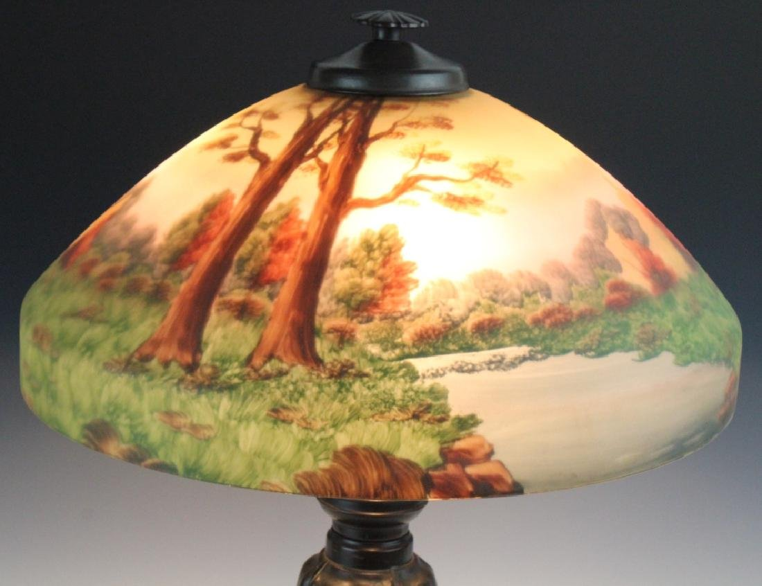 Signed Bradley & Hubbard Reverse Painted Lamp - 2