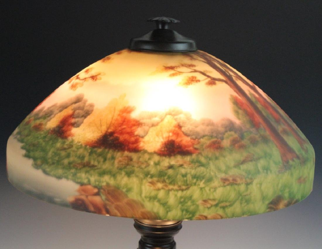 Signed Bradley & Hubbard Reverse Painted Lamp - 3