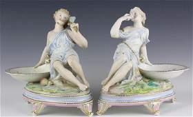 Pair Fine Dresden Figural Porcelain Sweet Meats