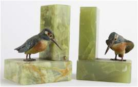 Pair Cold Painted Bronze King Fisher Bird Bookends