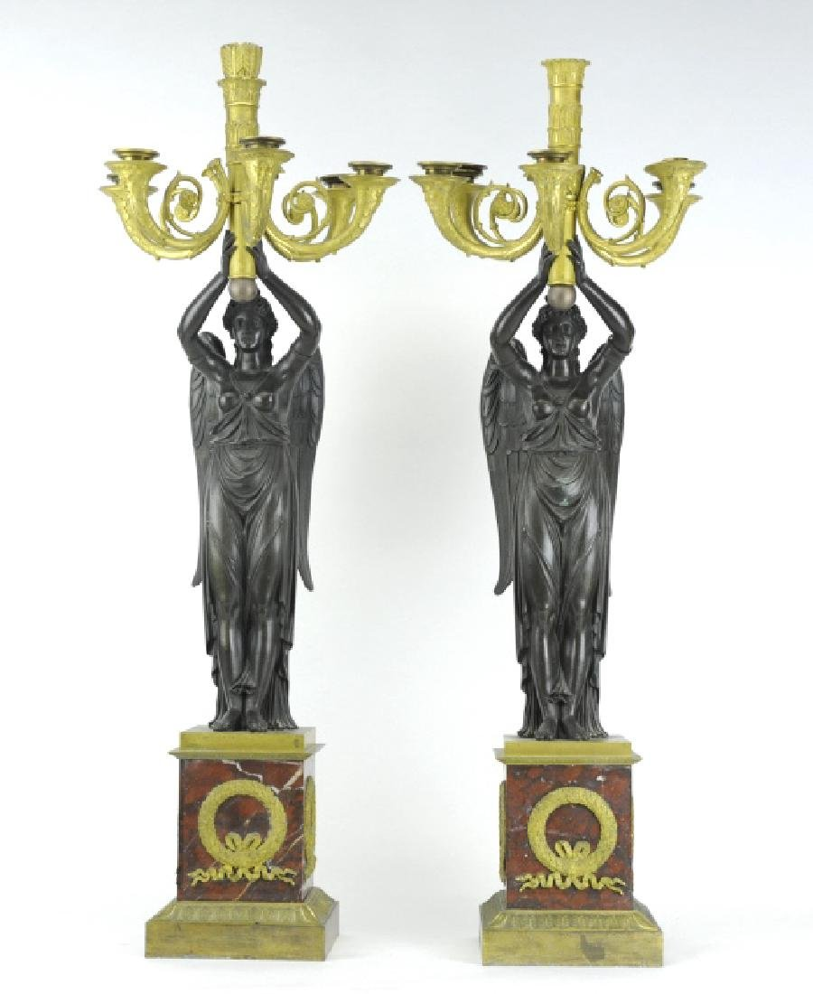 Thomire French Dore Bronze Marble Candelabras