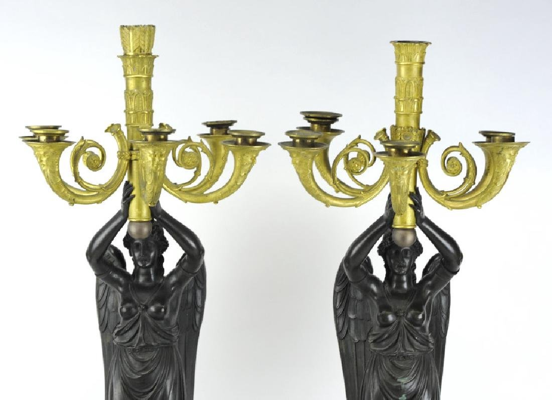 Thomire French Dore Bronze Marble Candelabras - 2