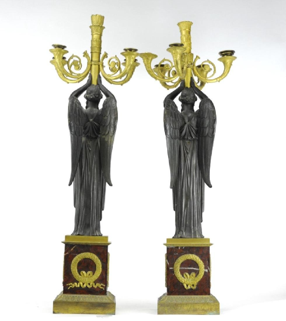 Thomire French Dore Bronze Marble Candelabras - 6