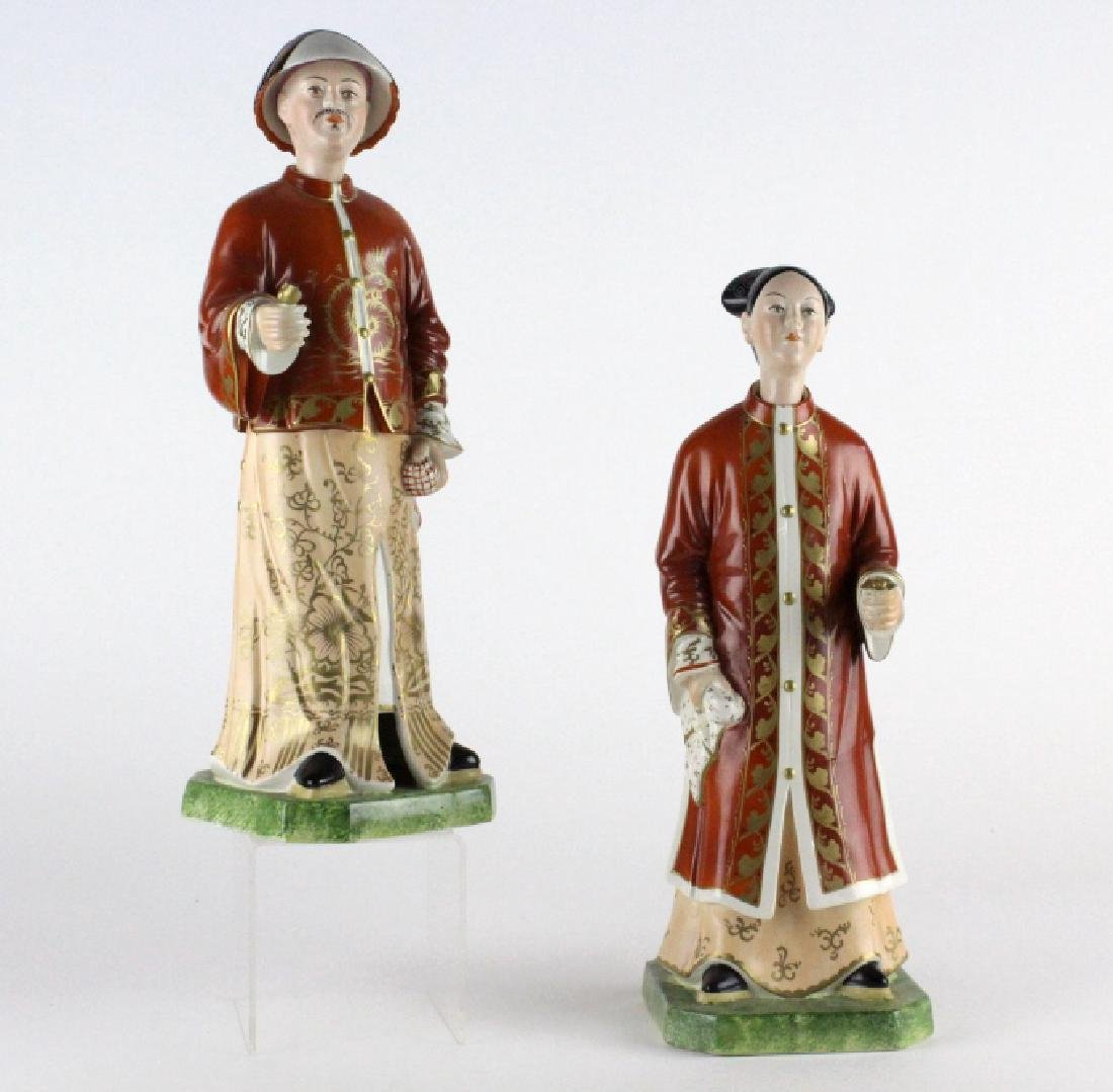 Pair Mottahedeh Porcelain Nodder Chinese Figurines