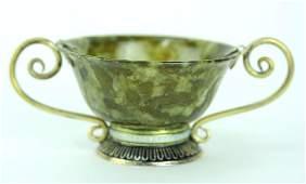Chinese Jade Bowl w/ Cloisonne Enamel Mounts