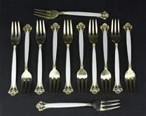 12 Thomas Marthinsen Enameled Silver Fork Set