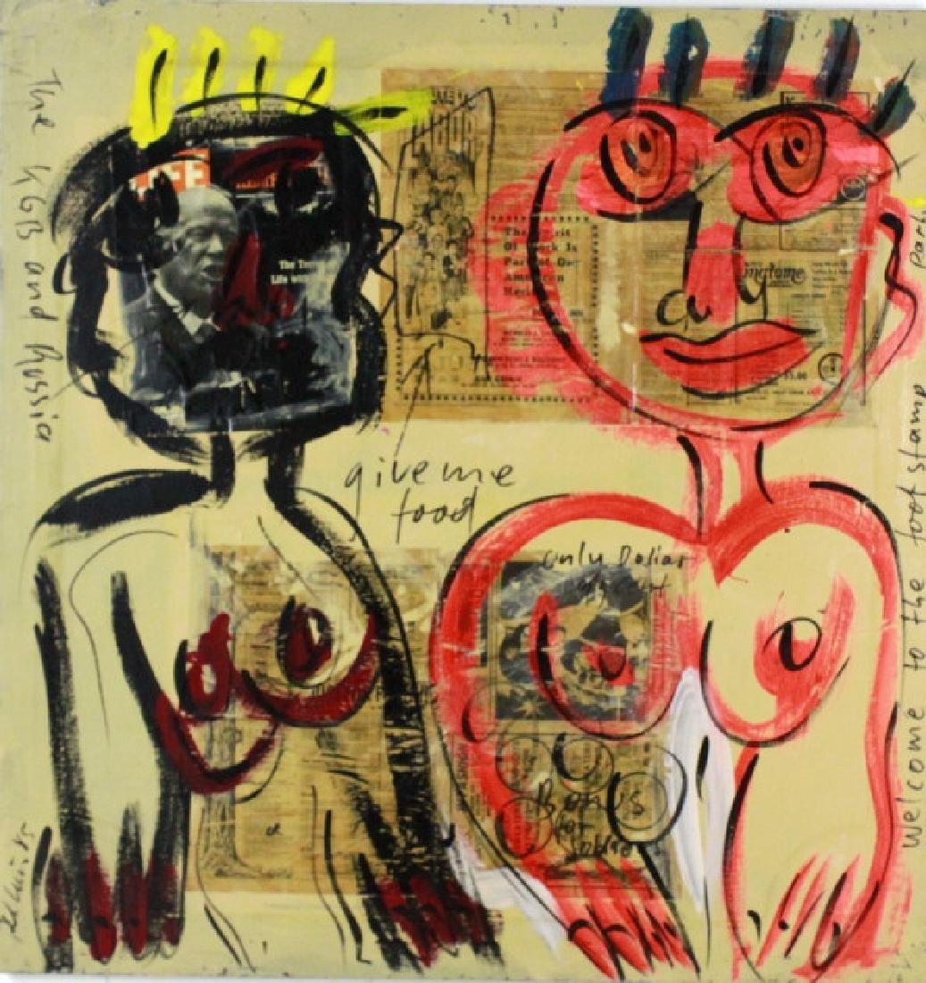 Peter Keil Expressionist Graffiti Painting 43x44