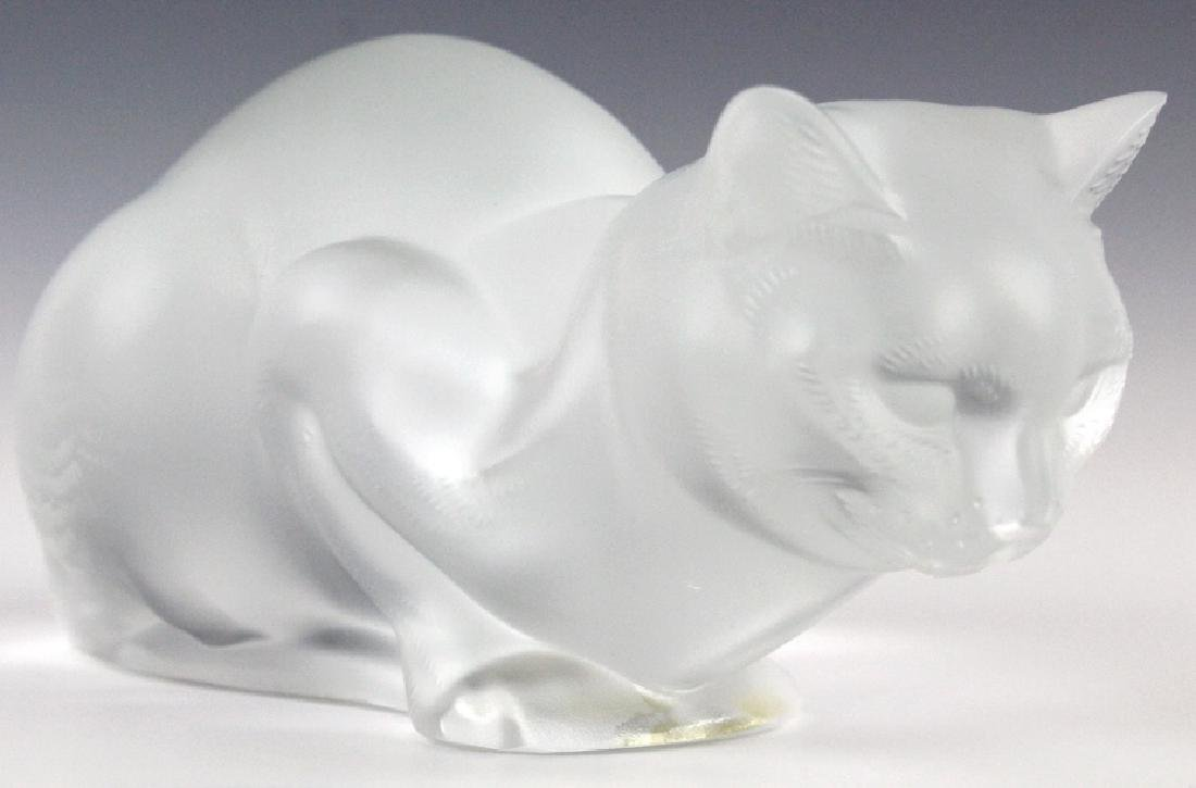 LALIQUE French Crystal Cat Crouching Glass Statue