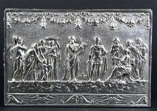 Ornate Scenic Repousse Hanau Silver Casket Box