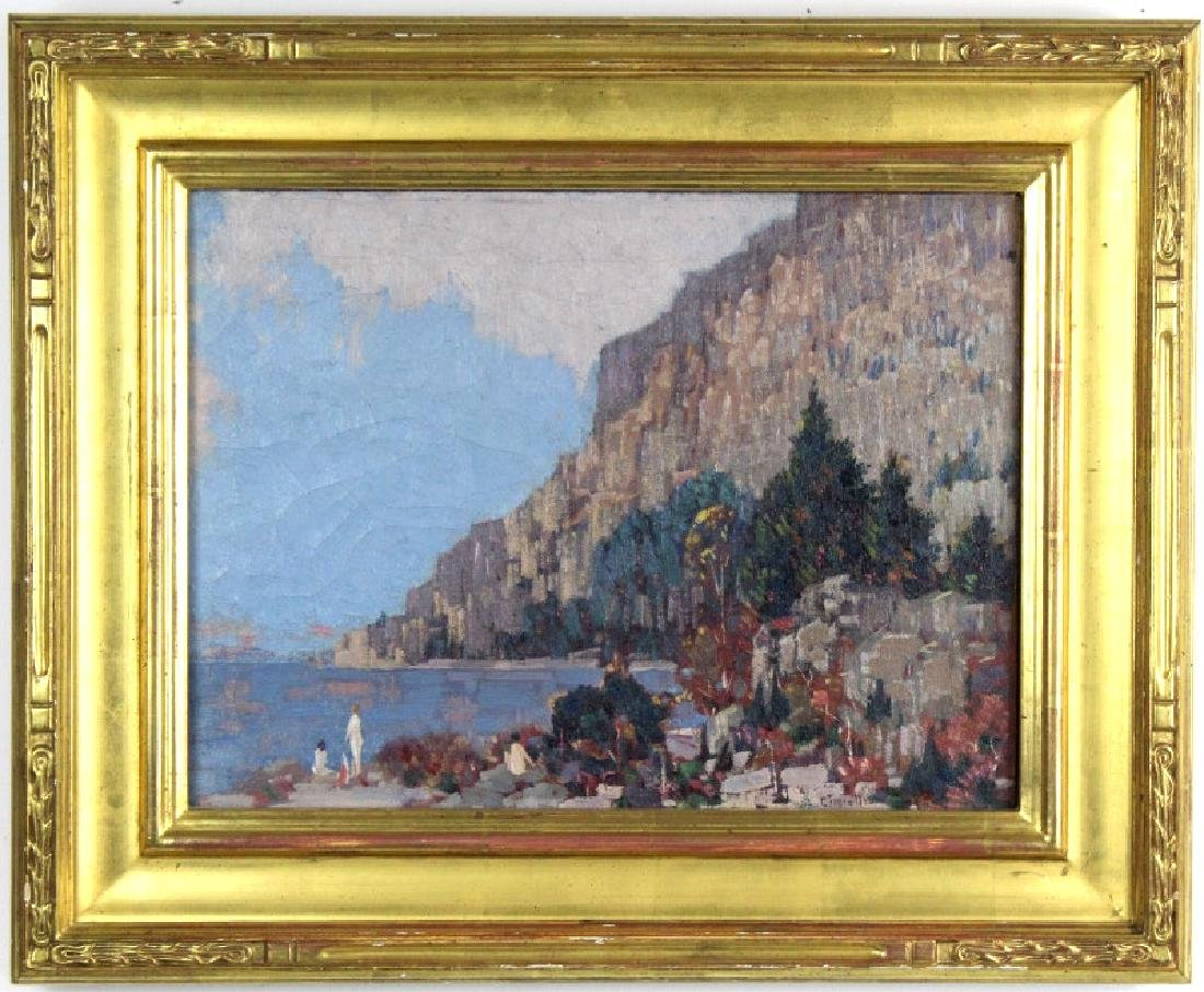 Gustave Cimiotti Jr. Lake Landscape Oil Painting