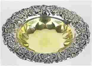 European 900 Silver Gold Gilt Floral Rim Bowl
