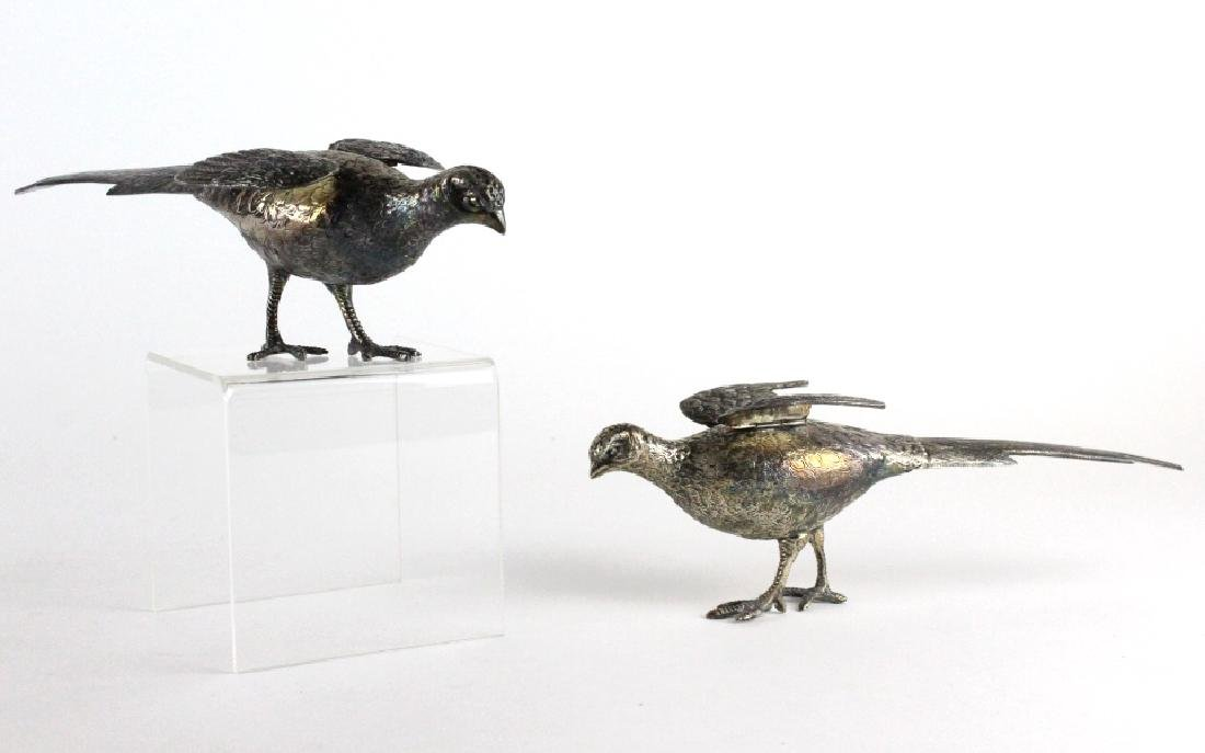 Pair Signed WALLACE Silver Plate Pheasant Birds