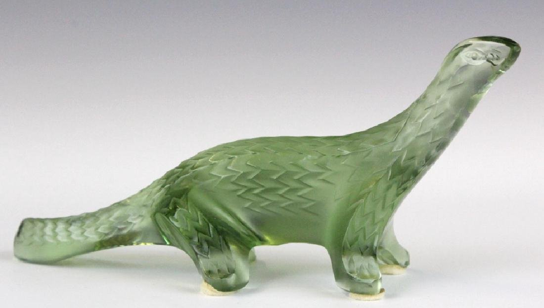 Lalique Green French Art Glass Lizard Figurine