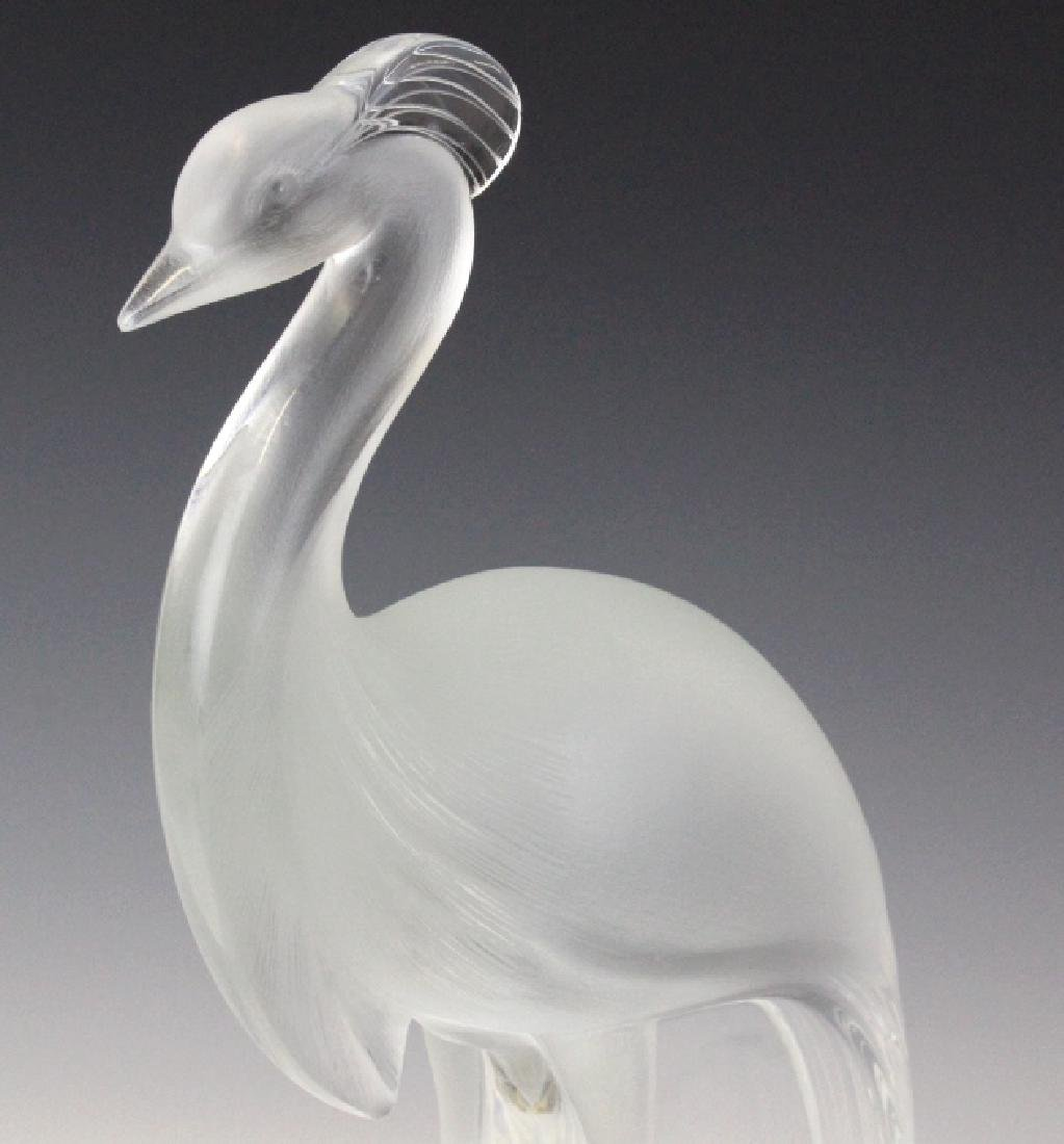 Large Lalique Frnch Art Glass Peacock Figurine - 3