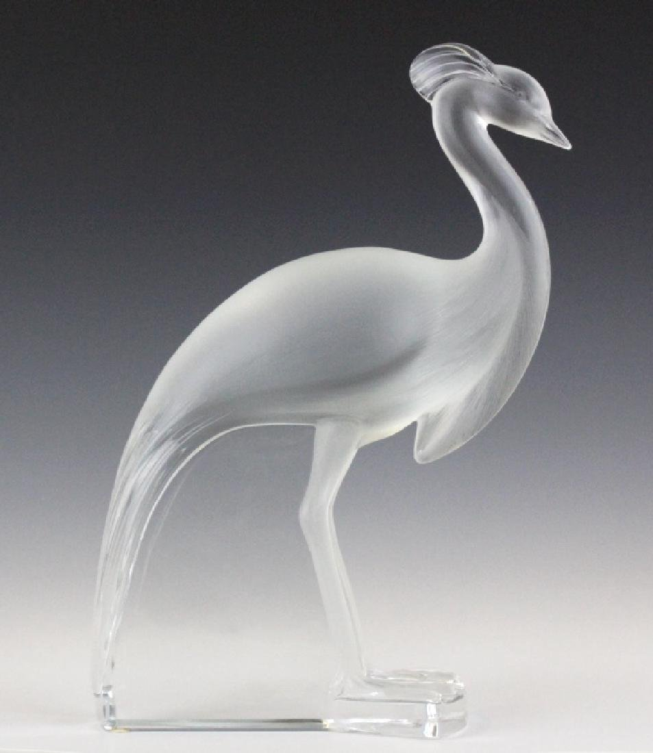 Large Lalique Frnch Art Glass Peacock Figurine - 6