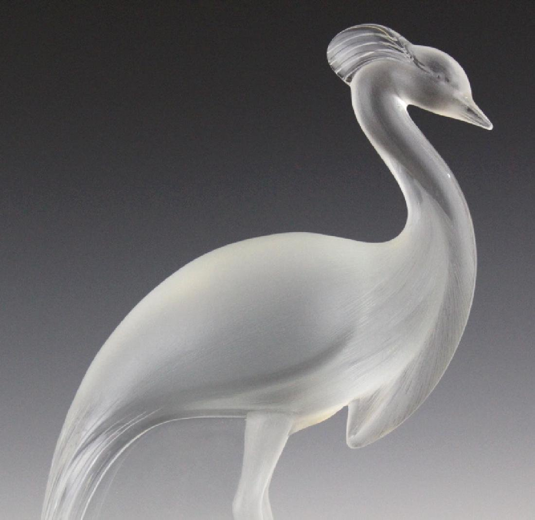 Large Lalique Frnch Art Glass Peacock Figurine - 7