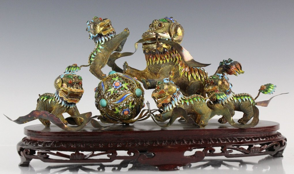 Chinese Silver Wire Filigree Enamel Jewel Foo Dogs