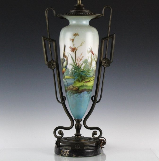 FINE French Art Nouveau Porcelain & Bronze Lamp
