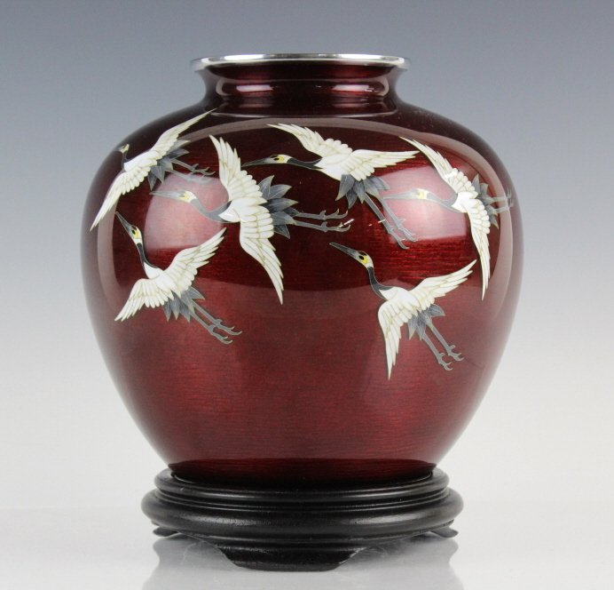 Japanese Blood Red Cloisonne Enamel Crane Vase
