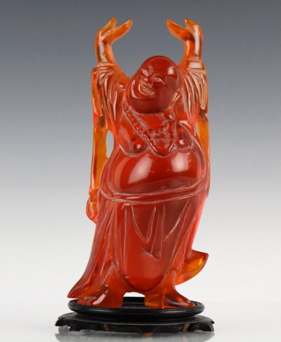 Chinese Carved Amber Happy Hotei Buddha Statue