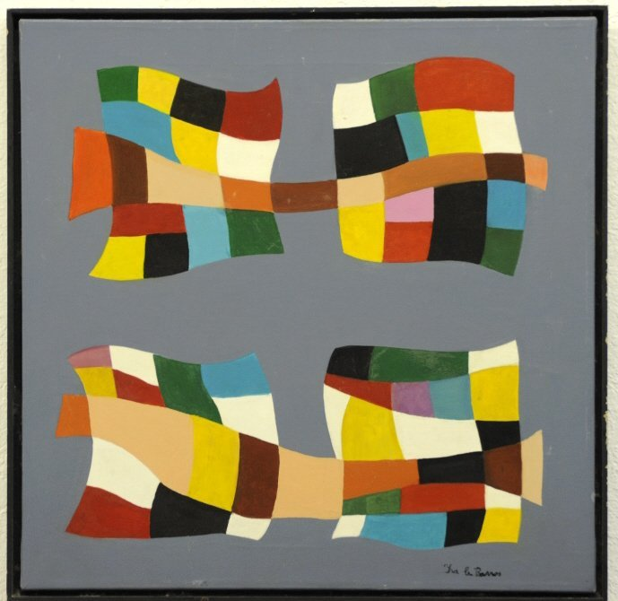 Signed BARROS Modernist Geometric Oil Painting