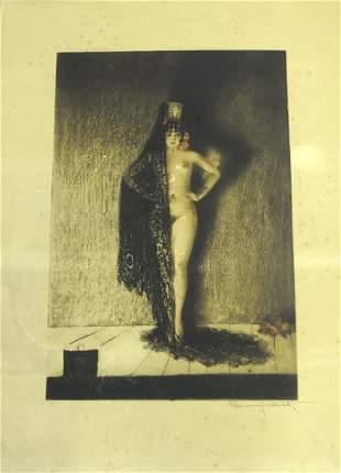 Signed Louis Icart CONCHITA Nude Woman Etching