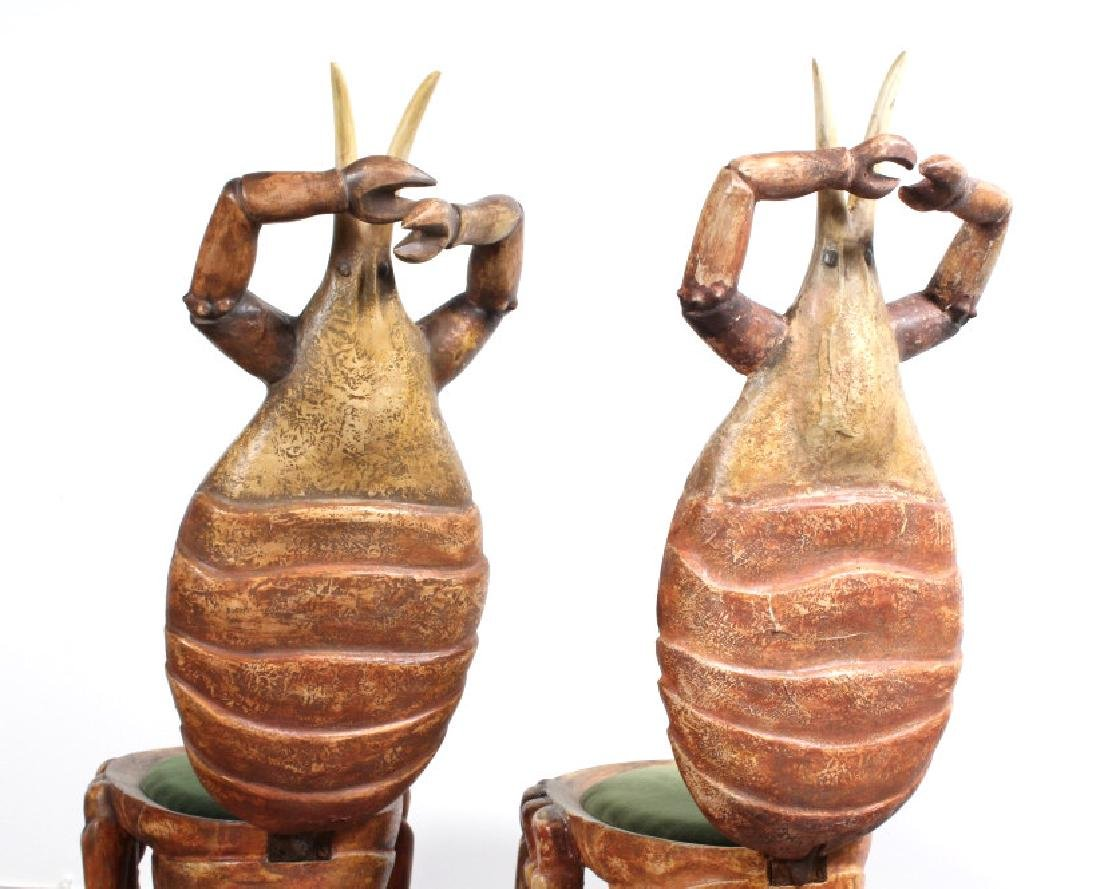 2 Antique Venetian Polychrome Lobster Grotto Chair - 2