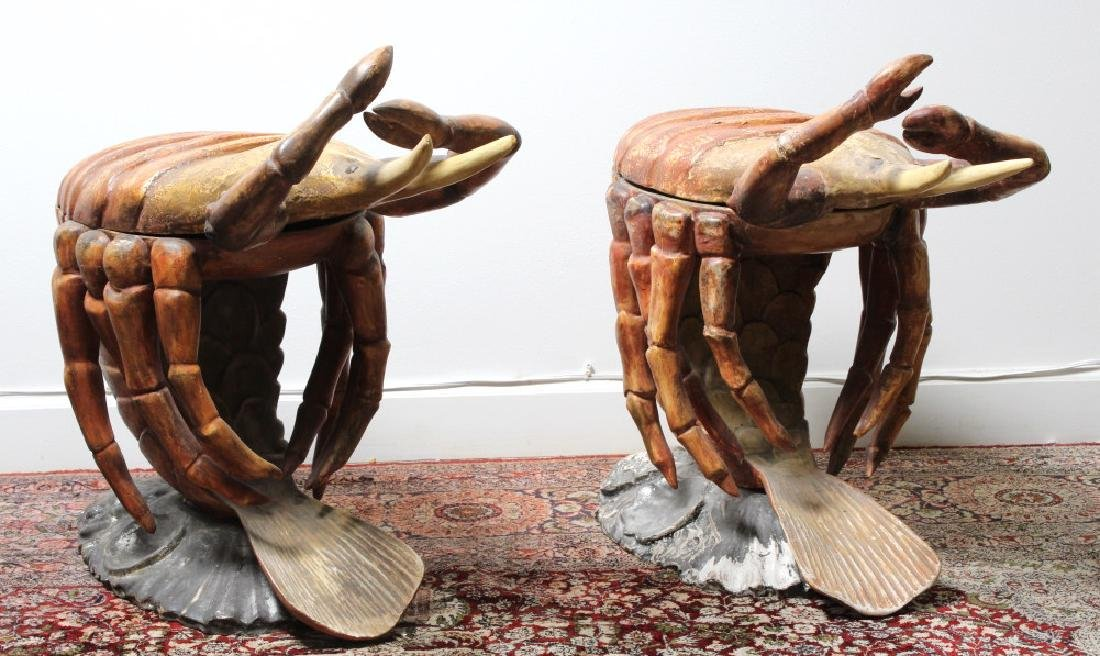 2 Antique Venetian Polychrome Lobster Grotto Chair - 4