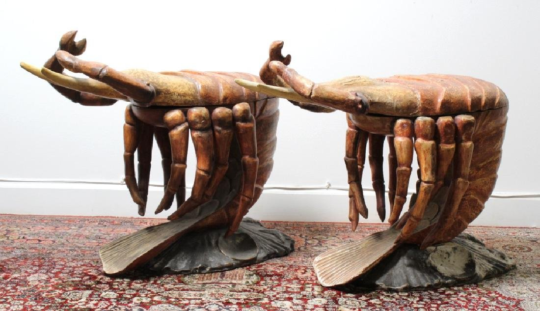 2 Antique Venetian Polychrome Lobster Grotto Chair - 5