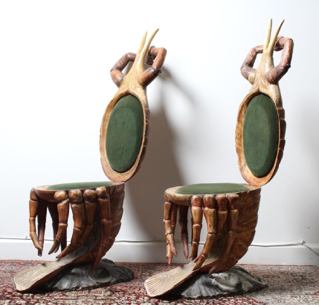 2 Antique Venetian Polychrome Lobster Grotto Chair - 8