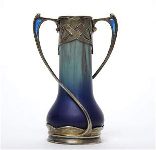 French Sterling Silver Mounted Flambe Pottery Vase