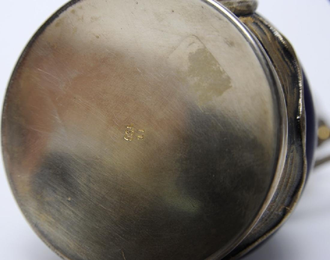 French Sterling Silver Mounted Flambe Pottery Vase - 8