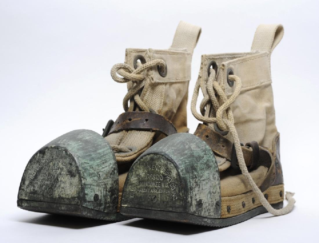 Pair WWII Era DESCO USN Navy Weighted Divers Boots
