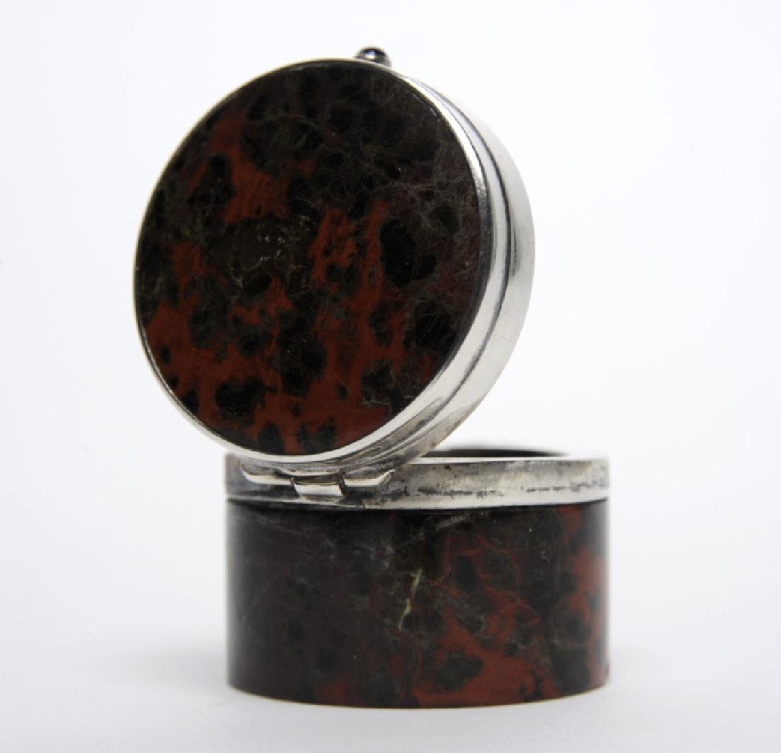 English Sterling Silver Mounted Leopard Jasper Box