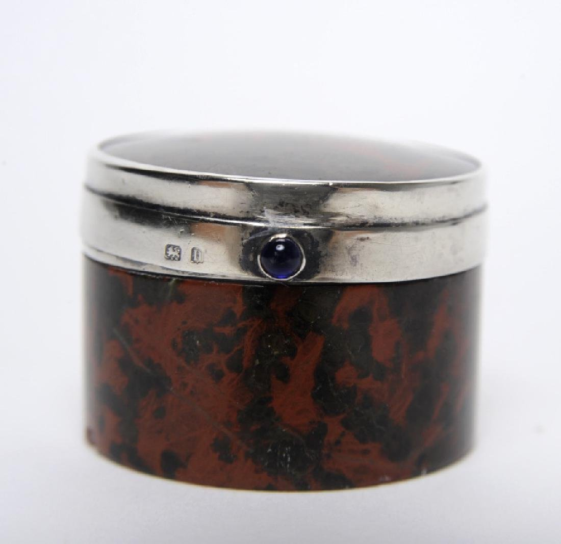 English Sterling Silver Mounted Leopard Jasper Box - 2