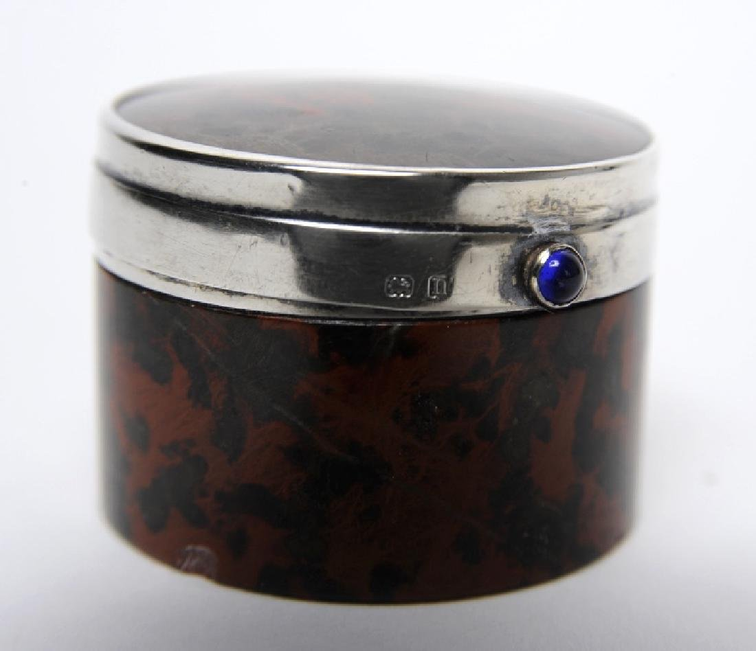 English Sterling Silver Mounted Leopard Jasper Box - 3