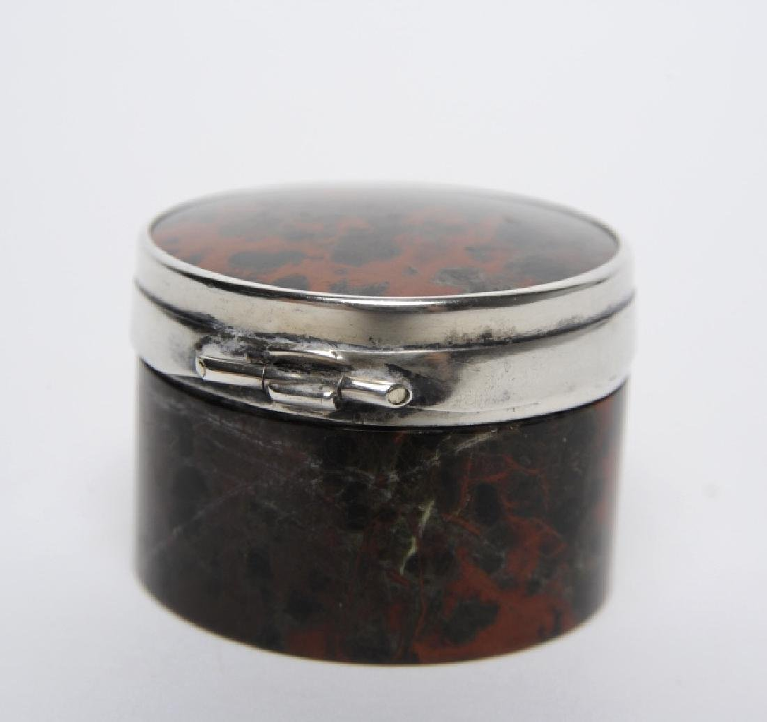 English Sterling Silver Mounted Leopard Jasper Box - 4