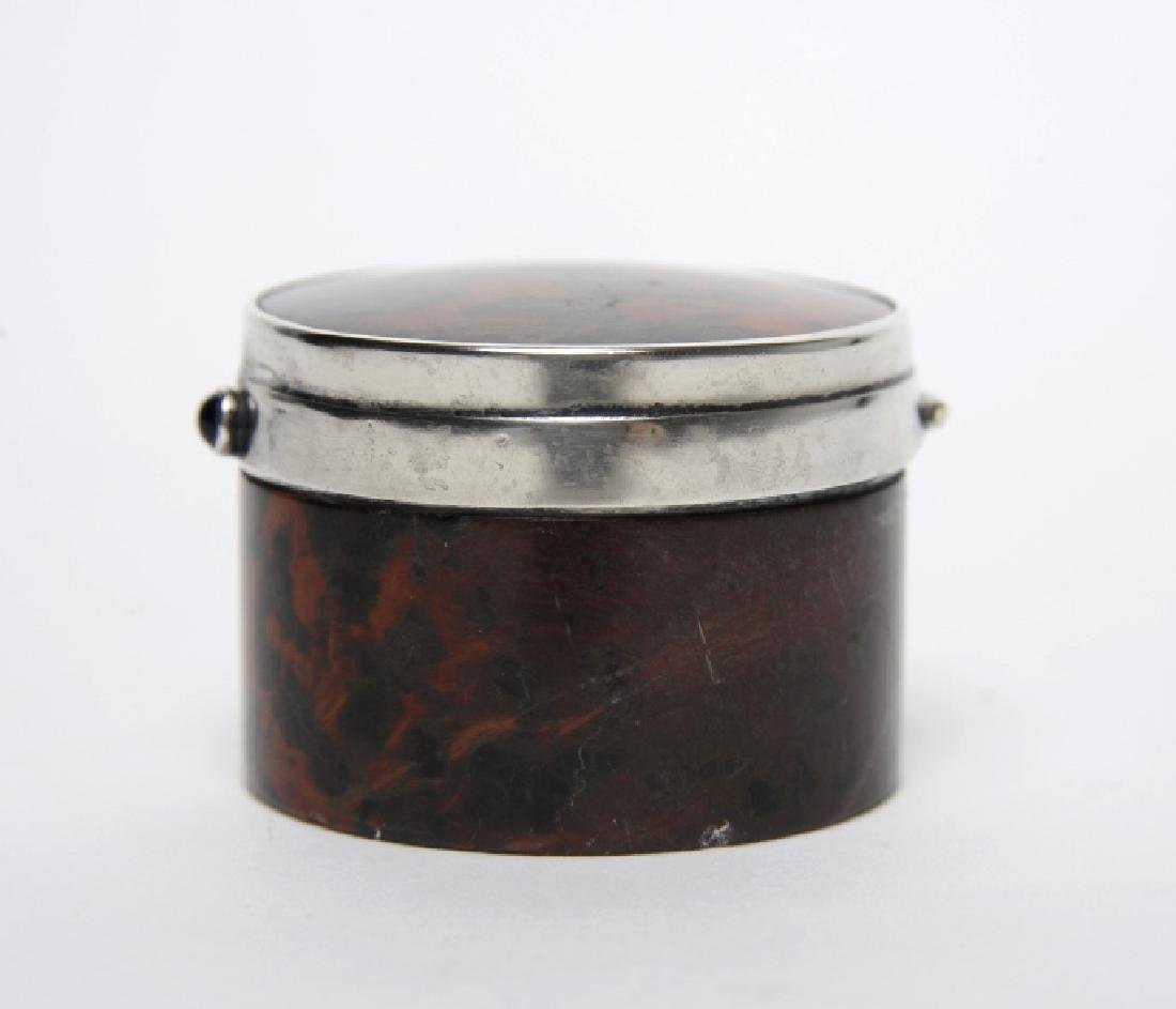 English Sterling Silver Mounted Leopard Jasper Box - 5