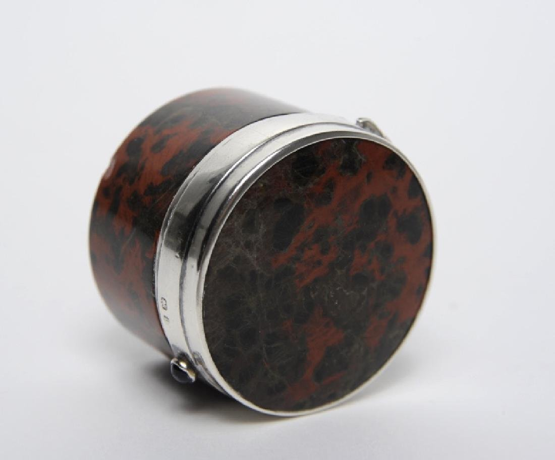 English Sterling Silver Mounted Leopard Jasper Box - 6