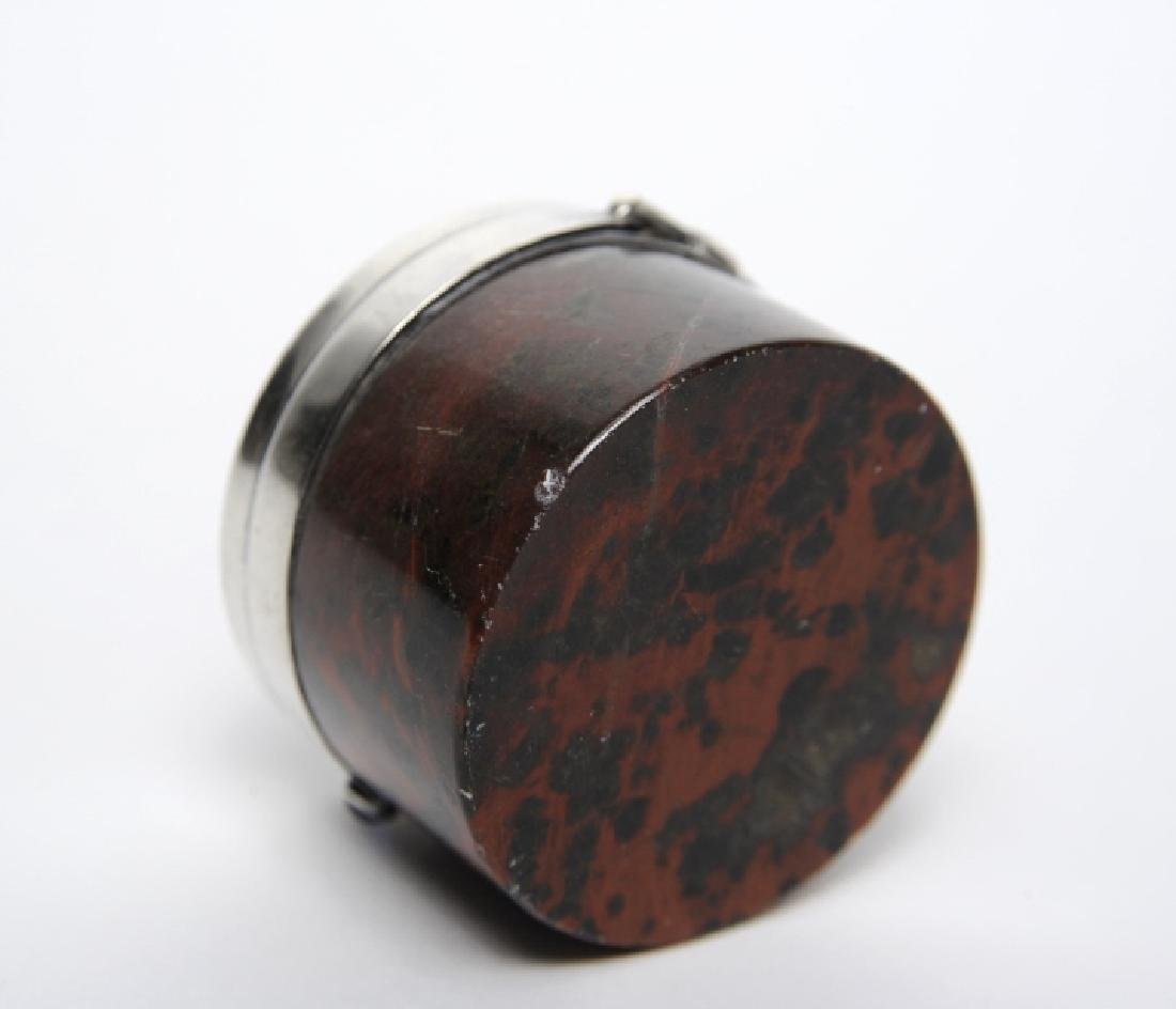 English Sterling Silver Mounted Leopard Jasper Box - 7