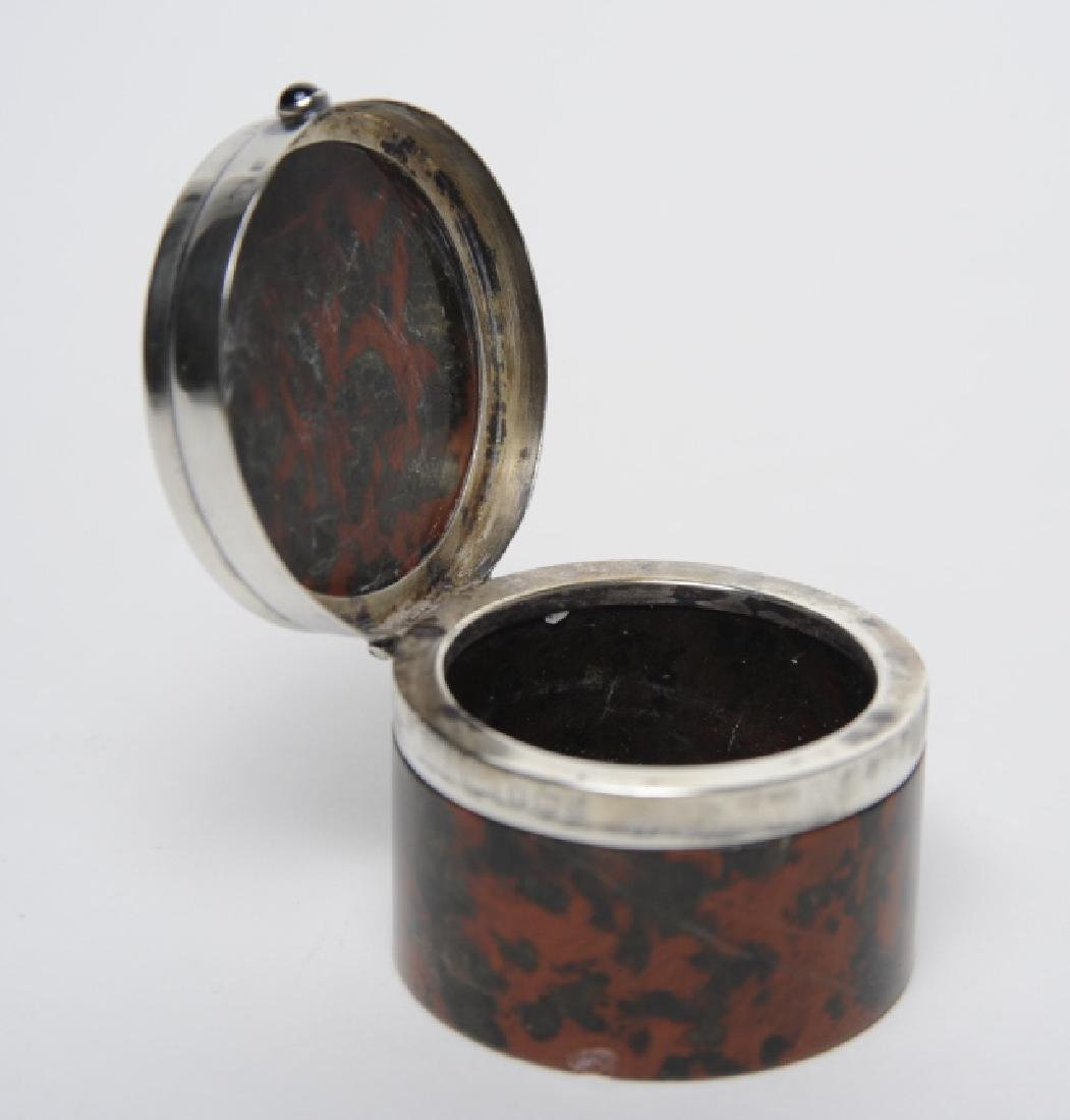 English Sterling Silver Mounted Leopard Jasper Box - 8