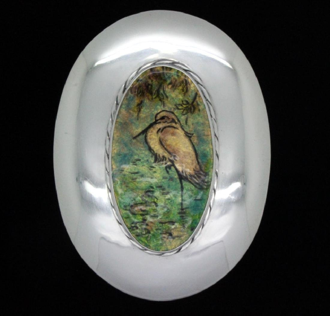 Sterling Silver Egret Enameled Pill Trinket Box 3""