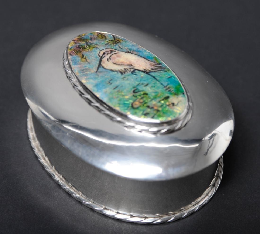 "Sterling Silver Egret Enameled Pill Trinket Box 3"" - 4"